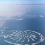 Palm Jumeirah and Palm Jebel Ali. View from the airplane