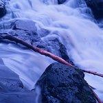 Long exposure of the rocks below Crumlin Glen weir