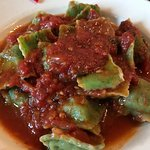 Spinach ravioli in tomato sauce