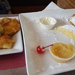 Half way through the meal of some potato and cheese pierogies with cheese blintzes.