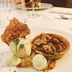 Date & walnut tart | caramel | halva ic cream