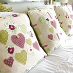 Beautiful bespoke cushions 'made with live' locally especially for the Pentreath room