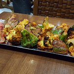 Broccoli and cauliflower kebab was delicious (but extremely spicy)