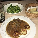 Northen Slovenian venisen with traditional mushroom sauce and potato cakes with rampione greens.