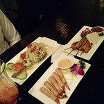 green papaya salad, shrimp, chicken satay