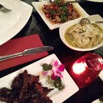 Crispy beef, soft shell crab and green chicken curry
