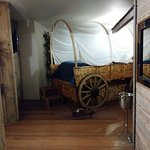 Oregon Trail Suite #9, view from door. Bath nook to left, toilet room to right.