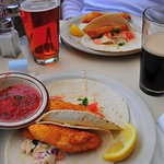 Fish tacos & Guiness tap beer