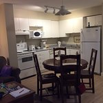 A view of the kitchen and dining table, Suite 302