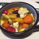verduras con Huevo Poché