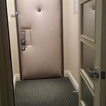 double door entry helps to reduce noise from the hall and the bathroom
