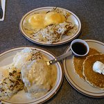 Eggs Bennidict and Chicken Fried Steak and Eggs with a side of Pancakes!
