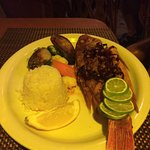 Whole Red Snapper and the veggies are incredible and so is the rice