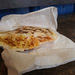 Chicken arepa on corn tortilla. Also available with beef, pork, veggie or cheese.