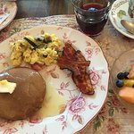 Ginger pancakes, lemon syrup, eggs with veggies...fruit, juice...