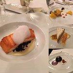 salmon, crab cake, coconut cream pie, chocolate mousse cake
