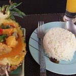 Duck curry and coconut rice