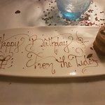 This lovely chocolate cake came with singing and well wishes for a happy birthday