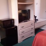 Dresser/entertainment combo & mini fridge w/microwave