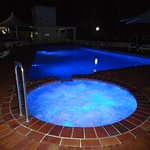 Outdoor Heated Pool & Spa at night