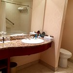 Large vanity, guest soap amenities to hard to use, plastic bottles too thick