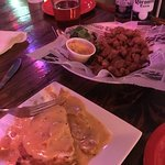 Alligator Cheese Cake and fried crawfish tails - very good as was the blackened fish tacos