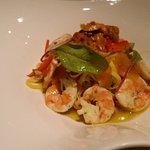 Fresh taglioline with shrimps, bottarga & sea urchin.