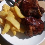 ribs with chips and a side of ring onions missing.