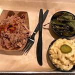 barbecue platter with collard and mac & cheese