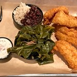 catfish platter with collards and black beans & rice
