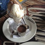 Yummy ice cream with Belgium chocolate sauce