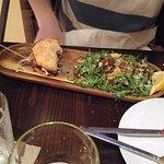 Blue cheese burger with caesar salad
