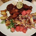 Jamaican jerk chicken with bacon/potato salad, watermelon relish