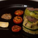 Starter - Lamb fillet, charred zucchini, sundried tomatoes, mustard