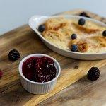 Dessert – Baked croissant and custard pudding – dessert
