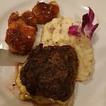 Filet with Bernaise Sauce and Shrimp Dinner with house garlic cheddar whipped potatoes