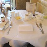 Nicely laid table for breakfast - Nuthurst Grange Hotel (02/Mar/17).