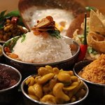 Delicious selection of Curry chutney and Rice