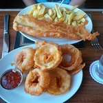 Gluten-free fish and chips, onion rings