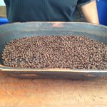 Fresh coffee beans ready to be ground.