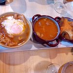 Primer plato: sopa castellana, judías de Ávila, patatas revolconas con torreznos