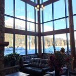 Cozy lobby with fireplace and a view of the mountains