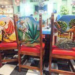 Closer look of the beautiful images on the back of the dining chairs