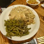 The special of the day; chicken and rice with a side of green beans !