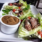 Black and Blue lettuce wraps with steak tips