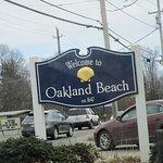Oakland Beach sign down the street.