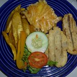 Flying fish with macaroni pie and fried plantain