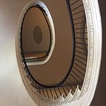 Free-standing staircase and second floor oval room