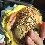 Egg, ham & cheese on an everything bagel. Every bite was breakfast perfection.
