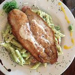 Corvina fish fillet with penne pesto
